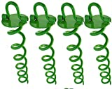Ashman 16 Inch Spiral Ground Anchor Green Color - Ideal for Securing Animals, Tents, Canopies, Sheds, Car Ports, Swing Sets (Pack of 4)