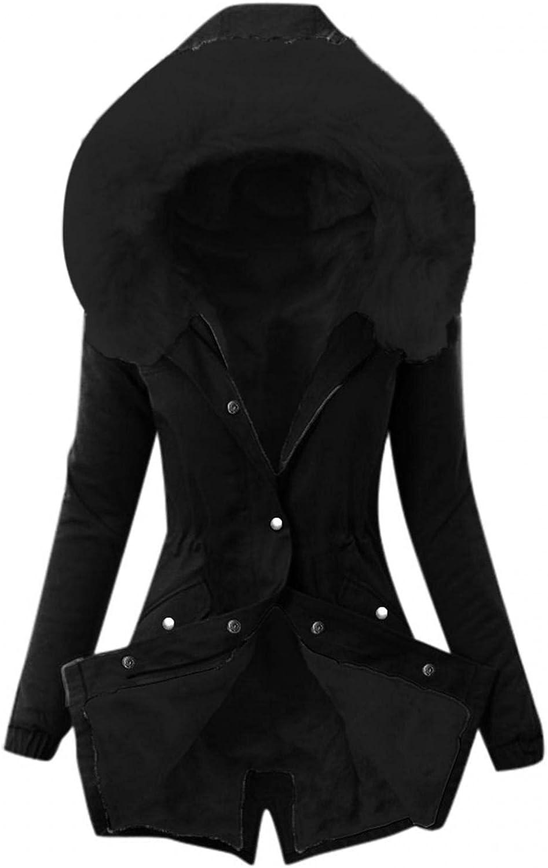 ManxiVoo Women's Hooded Winter Parka Coat Solid Plus Size Warm Faux Fur Fleeced Lined Long Jackets Overcoat