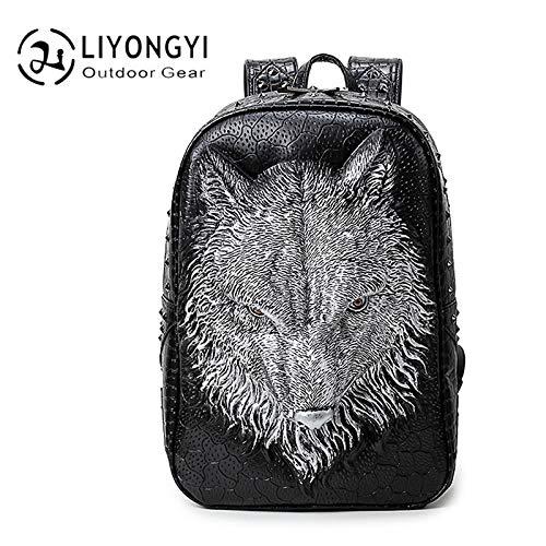 3D Rugzak Mannen en Vrouwen Casual Grote Capaciteit Wolf Hoofd Reizen Computer Tas Tide Bag