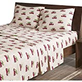Woolrich Bettlaken-Set aus Flanell, King-Size-Bett, Bettlaken, Bettlaken, Spannbetttuch und 2 Kissenbezüge, Hellbraun