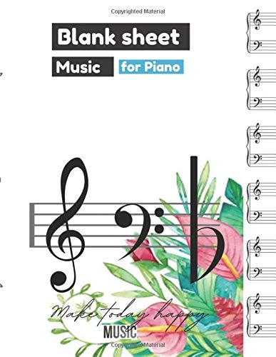 Blank Sheet Music for Piano, Lovely watercolor background with hand painted leaves cover, 100 pages - Large(8.5 x 11 inches)