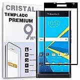 REY Protector de Pantalla Curvo para Blackberry PRIV, Negro, Cristal Vidrio Templado Premium, 3D / 4D / 5D
