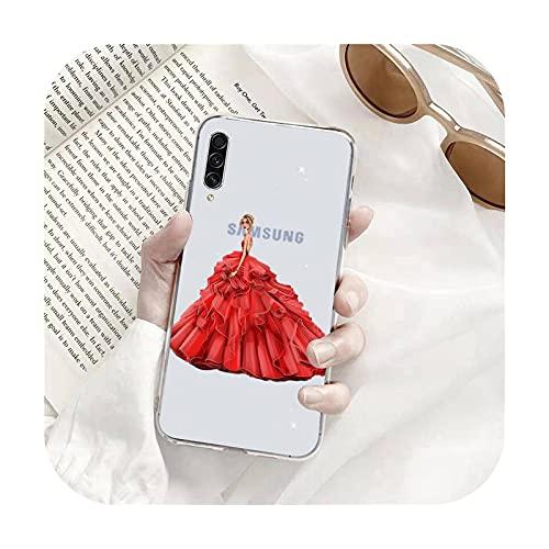Moda rojo vestido chica teléfono caso transparente para Samsung s9 s10 s20 Huawei honor P20 P30 P40 xiaomi note mi 8 9 pro lite plus-a7-samsung a71 4G