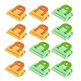 12 piezas Clip Sellado Alimentos, Clip de Cierre Multipropósito de Plástico, Clip de Sellado para Refrigerios Suministros de Cocina Almacenamiento de Alimentos Hermético y Congelación (Verde, Naranja)