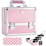 Joligrace Makeup Train Case Cosmetic Box 10 Inches Jewelry Organizer Professional 3 Tiers Trays with Mirror and Brush Holder Lockable Key Portable Travel Mermaid Pink