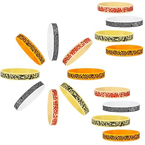 36 Pulseras de Silicona de Animal Pulsera de Goma con Estampado de Safari Brazalete Impermeable de Goma con Tema Animal para Fiesta de Cumpleaños de Animales Eventos Bolsa de Obsequios