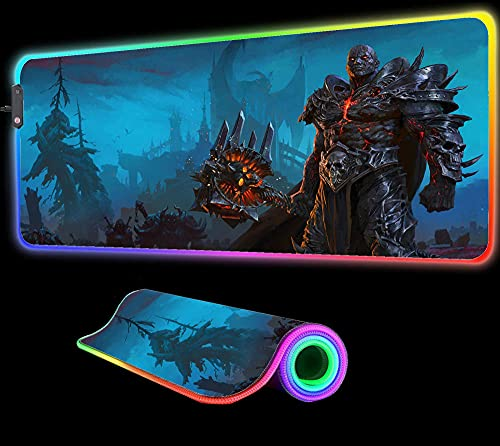 Mouse Pads World of Warcraft Shadowlands Mouse Pad Computer PC Keyboard Pad RGB LED Glowing Gaming Gamer XXL PC Desk Mat,35.43 inch x15.74 inch