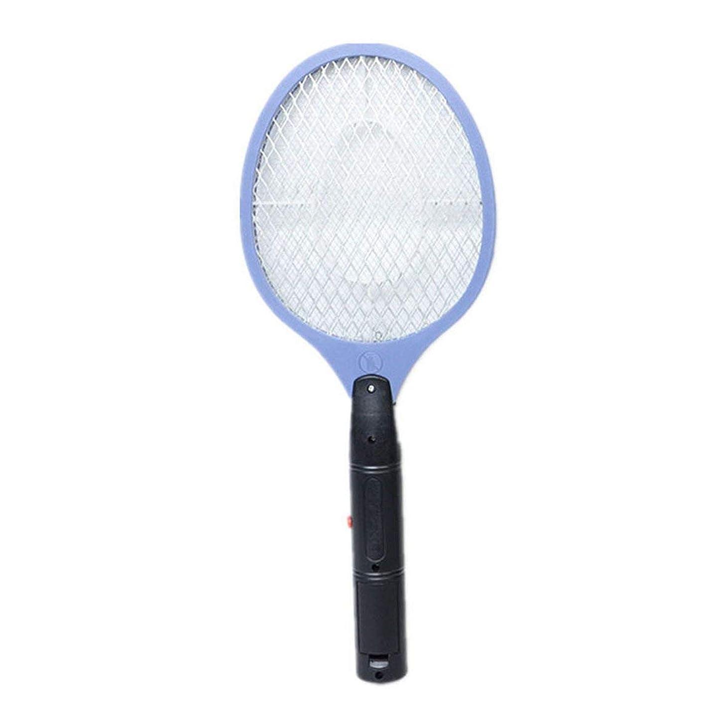 錆び貫入運動ホームバッテリー電動蚊たたき電動フライ昆虫キラーバグザッパーラケット蚊スズメバチたたき電子-ブルー