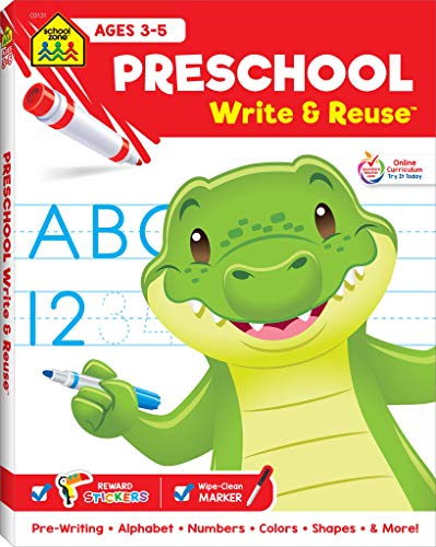School Zone - Preschool Write & Reuse Workbook - Ages 3 to 5, Spiral Bound, Write-On Learning, Wipe Clean, Includes Dry Erase Marker, Letter Tracing, and More (School Zone Write & Reuse Workbook)