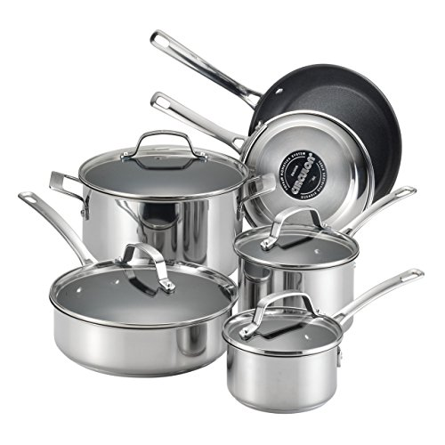 Circulon Genesis Stainless Steel Cookware Pots and Pans Set, 10 Piece