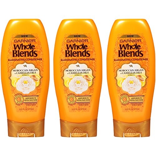 Garnier Whole Blends Illuminating Conditioner Moroccan Argan and Camellia Oils Extracts, 12.5 Fluid Ounce, Pack of 3