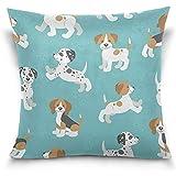 C-WANG Kissenbezug dekorative Kissenbezug, Cartoon Mops Welpen Hund mit Knochen Schlafsofa Kissenbezug
