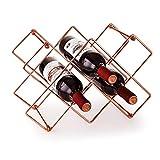 BELIBUY Countertop Wine Rack, 10 Wine Bottle Storage Holder Wine Storage Metal Wine Rack Freestanding Modern Small Tabletop Wine Rack Holder for Pantry, Bar Area - Rose Gold