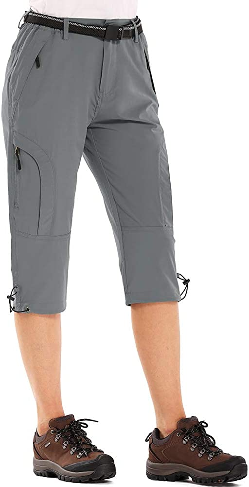 Aiegernle Womens Quick Dry Cargo Shorts,Outdoor Casual Straight Leg Knee Capri Long Shorts for Hiking Camping Travel