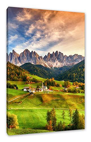 Pixxprint Herbstliche Landschaft in den Dolomiten als Leinwandbild/Größe: 70x100 cm/Wandbild/Kunstdruck/fertig bespannt