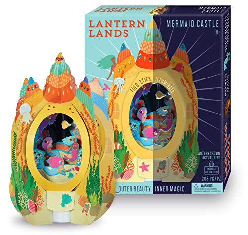 Bright Stripes DIY Lantern Lands Mermaid Castle 3D Paper Lantern Craft Kit - Magical Craft Kit for Kids Creates a 3D Paper Lantern with LED Tea Light - Fun Kids Activity can be Used as a Night Light