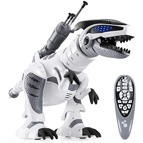 ANTAPRCIS RC Ferngesteuert Dinosaurier Roboter, Programmierbar Dino mit Licht und Sound, Intelligent Interaktive Spielzeug mit Brüllen, Tanz- und Schussfunktion für Kinder Jungen Mädchen Geschenk