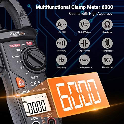 Pinza Amperímetro, TACKLIFE 6000 Cuentas Multímetro, Detección de Voltaje sin...