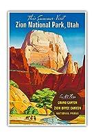ザイオン国立公園, ユタ州 - グレートホワイトトーン、モノリス - ビンテージな世界旅行のポスター c.1950s - アートポスター - 33cm x 48cm