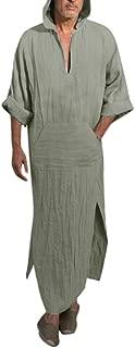 Mens Robes Long, Male Ethnic Robes Loose Solid Long Sleeve Hooded Vintage Dress Kaftan Robe Fashion