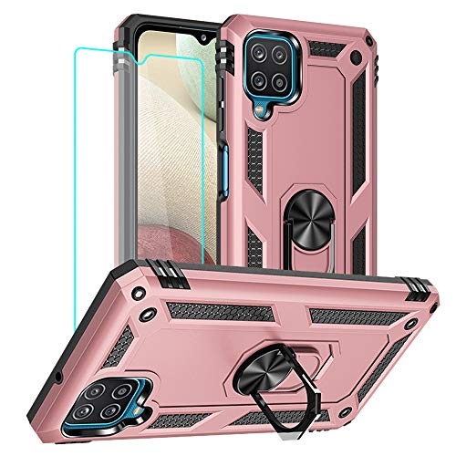 Samsung Galaxy A12 Case, Galaxy A12 Cover with HD Screen Protector, Yiakeng Military Grade Protective Cases with Ring for Samsung Galaxy A12 5G (Rose Gold)