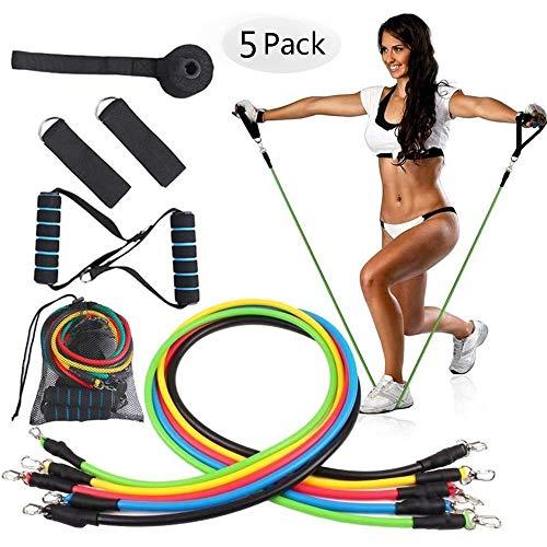 XTDGN 5 Set -11pcs Gewicht Übung Fitness-Widerstand-Bänder Set - stapelbare Elastic Band Fitnesstraining - mit Tür-Anker-Griff und Beinen Ankle Straps, für Haus, Gym