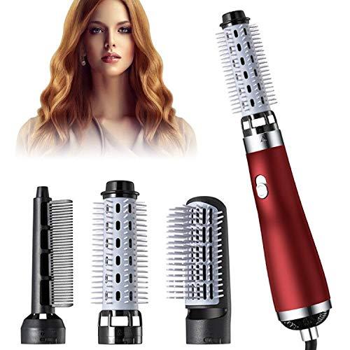 Hot Air Styler Brush Hair Dryer Volumizer Comb 3in1 Hot Air Brush Set One Step Negative lon Rotating Curler amp Straightener Multifunction Salon and Volumizer Styling Red