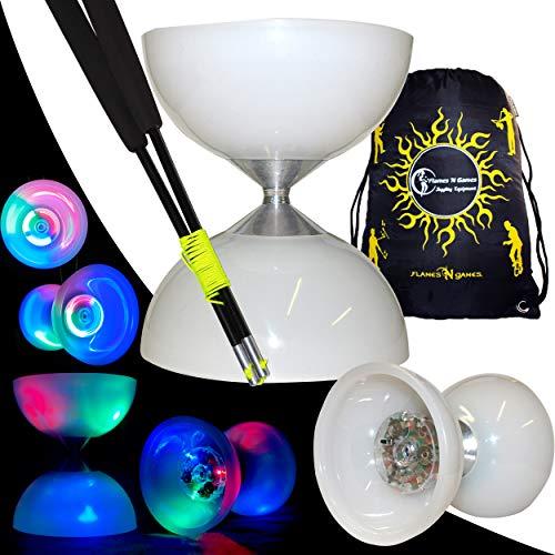 Juggle Dream Lunar Spin LED - Diabolo AXE Fixe + Baguettes Fibres + Sac de Voyage! Diabolo LED Professionnel de Haute qualité (Black Fibre)