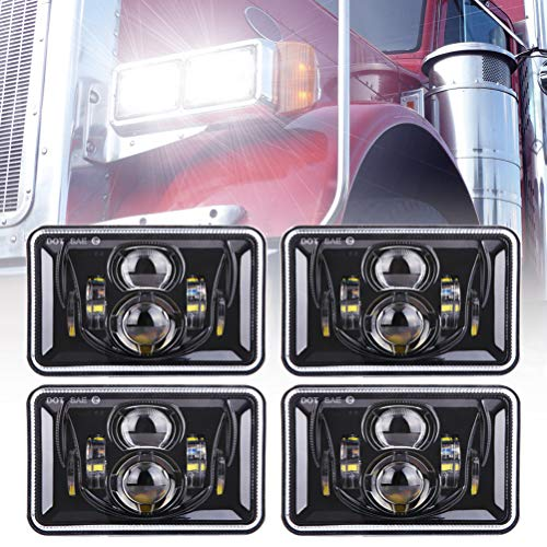 Z-OFFROAD 4pcs 60W Rectangular 4x6 Led Headlights Dot Approved H4656 H4651 H4652 H4666 H6545 Headlight Replacement for Freightliner Peterbilt Kenworth Oldsmobile Cutlass Trucks - Black