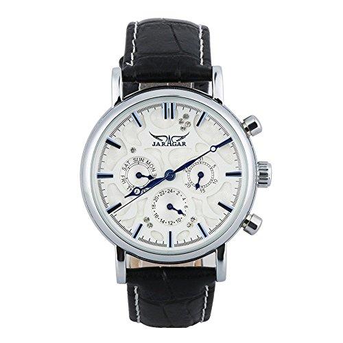 GuTe elegante de color azul marino/reloj de pulsera automático para el día de la fecha de la esfera de color blanco para los caballeros