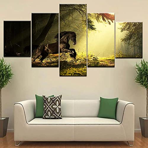 Cuadro En Lienzo 5 Pieza Pintura En Lienzo Un Caballo Corriendo En Animales del Bosque Arte De La Pared 5 Piezas Imagen Impresión En Lienzo Imagen De Pared Decoración del Hogar