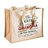 Grandma Gift Bag Birthday Personalised Present or Mother's Day Funny Novelty Gift Grandma Keepsake (Natural)