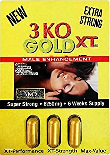 3 KO Gold XT 7500mg Male Sexual Performance Enhancer 5 Weeks Supply (3) Packs = 9 Pills