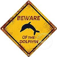 イルカの警告サインに注意してください注意交差点サインヴィンテージ通知壁の装飾金属ポスター野生の池のプラーク工芸品ファームフォレストフィールドデザート