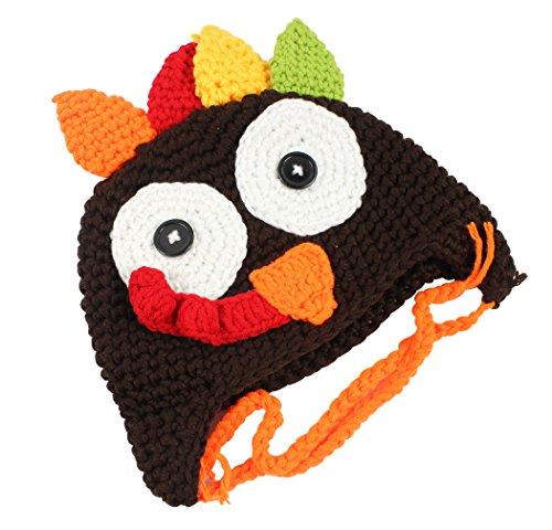 Hillento el día de Fiesta del día de Fiesta de Thanksgiving Sombrero del Pavo de Acción de Gracias, Casquillos Hechos Punto del Sombrero del Traje del Ganchillo para el niño Unisex del bebé, café, S
