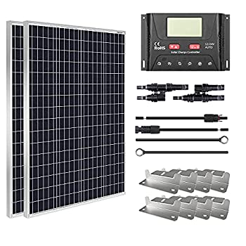 HQST 200W 12V Monocrystalline Solar Panel Kit w/ 30A PWM LCD Solar Charge Controller+Adaptor Kits+Tray Cable+Mounting Z Brackets+Y Branch Connectors
