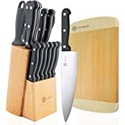 "Knife Set with Block 15-Piece Stainless Steel Kitchen Knives Set 8"" Chef Slicing Bread 5"" Utility 3½"" Paring 4½"" Steak Knives x 6 Sharpener Steel Bamboo Board"