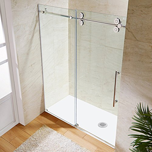 picture of a walk in shower with a sliding glass door