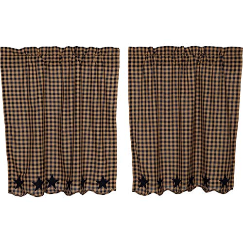 VHC Brands Navy Star Scalloped Tier Set of 2 L36xW36 Country Curtains, Navy and Tan