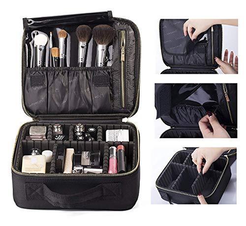 Rownyeon Professionelle Kosmetiktasche, Makeup Train Case Reise Make-up Tasche 10 '' Portable Makeup Artist Organizer Make-up Pinsel Tasche für Kulturbeutel Schmuck Digital Zubehör Klein
