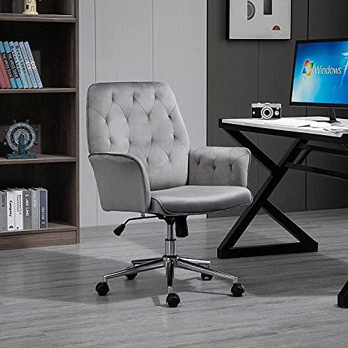 FGVBC Silla, Silla giratoria para computadora con reposabrazos, sillón Familiar capitoné de Estilo Moderno, Silla de Oficina ergonómica Ajustable