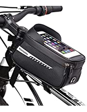 Bike Phone Front Frame Bag,Waterproof Bike Pouch Bag Bike Handlebar Bag Cycling Front Top Tube Touchscreen Phone Mount Bicycle Bag for Smartphone up to 6.5''