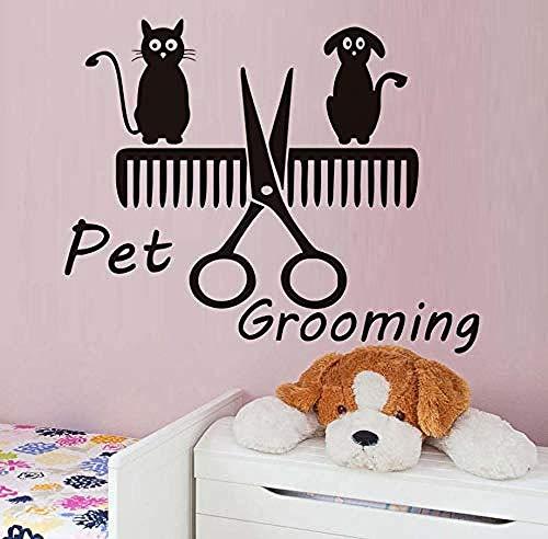 Home Hond en Kat Kam Schaar Vinyl Muurstickers Huisdier Verzorging Salon Winkel Lijm Verwijderbare Slaapkamer Decals Kids Kamer Thuis Decor72X58Cm