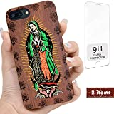 iProductsUS Wood Phone case Compatible with iPhone SE (2020), iPhone 8, 7, 6/6S and Magnetic Mount, UV Print Our Lady Virgin Mary, Engrave Roses, Built-in Metal Plate, TPU Protective Cover (4.7 inch)