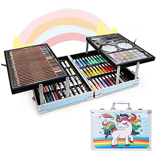 Set de Arte Profesional, E T EASYTAO Kit de Dibujo Colores Profesionales Plegable, Incluida la Lapices de Colores, Marcadores, Pinturas de Acuarela, Pasteles, Crayones, Con Caja de Aluminio, Ideal Regalo para Niños, Suministros de Arte Escolar, Estudiantes, Principiantes y Artistas