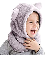 Duoyeree Toddler Winter Hat with Earflap Scarf Hood Thick Warm Kids Skull Cap for Baby Girls Boys Grey