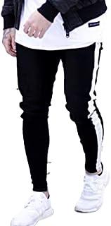 Aiweijia メンズスポーツパンツジーンズファッションジッパースポーツ高弾性人気の十代の男ロングパンツスキニーパンツ