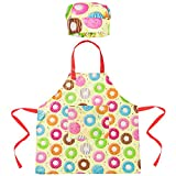 Sylfairy Kids Apron Chef Hat Set, Girls Rainbow Unicorn Apron with Adjustable Neck Strap for Children Kichen Chef Aprons for Cooking Baking Painting and Party (Yellow Donuts, Medium,6-12Years)
