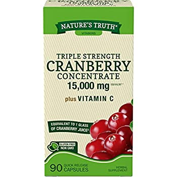 Nature s Truth Triple Strength Cranberry Concentrate 15000 mg Plus Vitamin C Capsules 90 Count