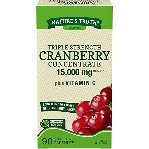 Nature's Truth Triple Strength Cranberry Concentrate 15000 mg Plus Vitamin C Capsules, 90 Count
